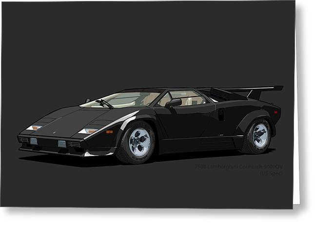 Technical Digital Art Greeting Cards - Lamborghini Countach 5000QV Nero Tenebre US spec Greeting Card by DigitalCarArt