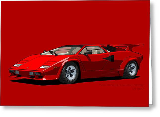 Technical Digital Art Greeting Cards - Lamborghini Countach 5000QV Rosso Siviglia US spec Greeting Card by DigitalCarArt