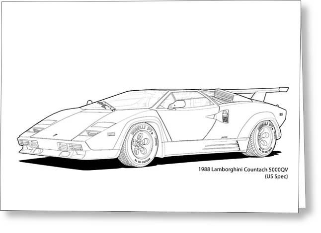 Technical Digital Art Greeting Cards - Lamborghini Countach 5000QV US spec Line Illustration Greeting Card by DigitalCarArt