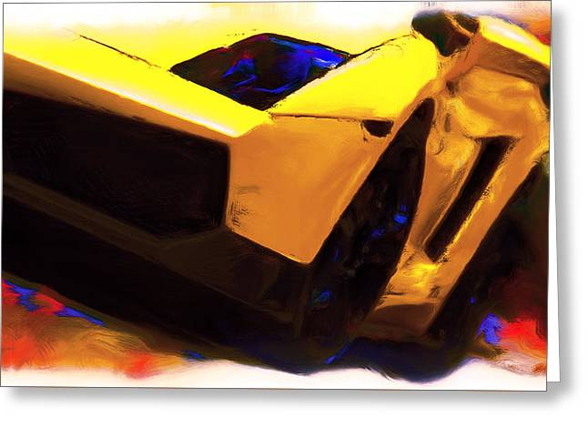Portofino Italy Mixed Media Greeting Cards - Lamborghini Front End Greeting Card by Brian Reaves