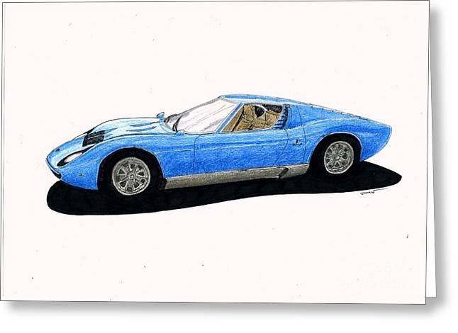 Veteran Drawings Greeting Cards - Lamborghini Miura Greeting Card by Dan Poll
