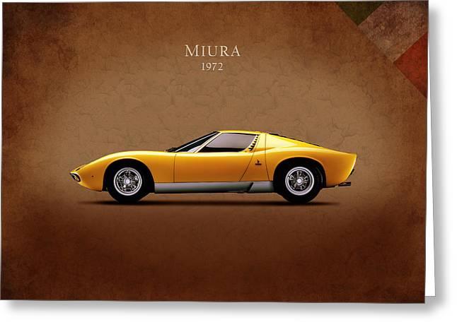 Italian Sports Cars Greeting Cards - Lamborghini Miura Greeting Card by Mark Rogan