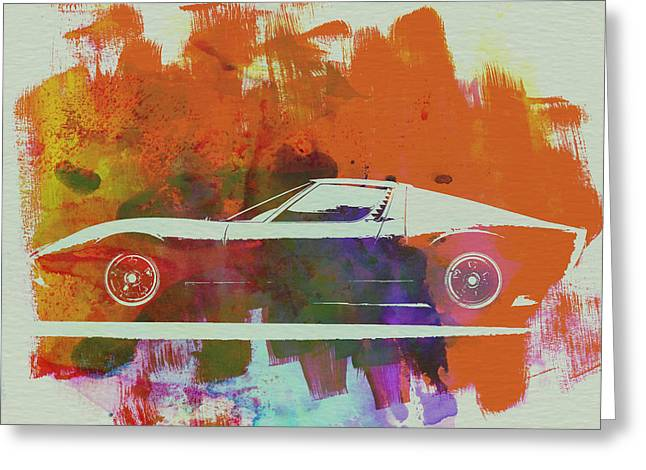 Drawings Greeting Cards - Lamborghini Miura Side 2 Greeting Card by Naxart Studio