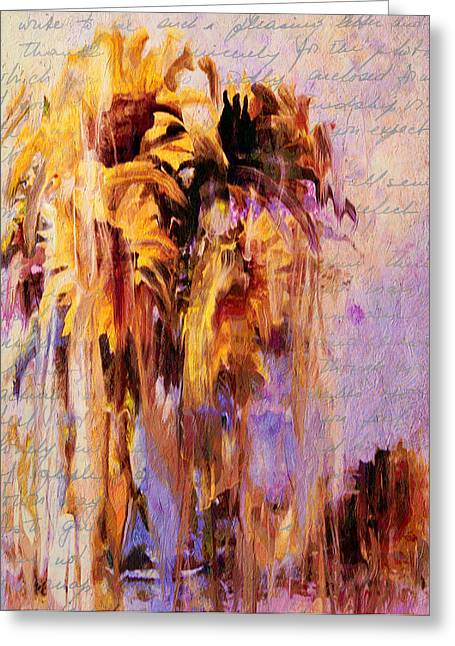 Texture Greeting Cards - Lament Of Sunflowers Greeting Card by Georgiana Romanovna