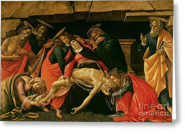 1510 Paintings Greeting Cards - Lamentation of Christ Greeting Card by Sandro Botticelli