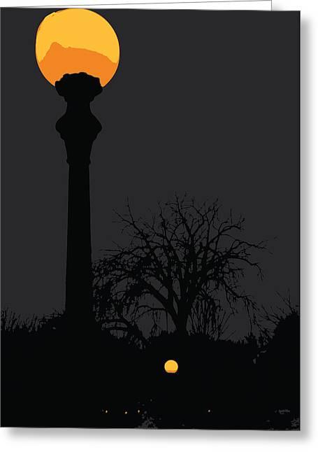 Night Lamp Greeting Cards - Lamp at Night Greeting Card by Pelo Blanco Photo