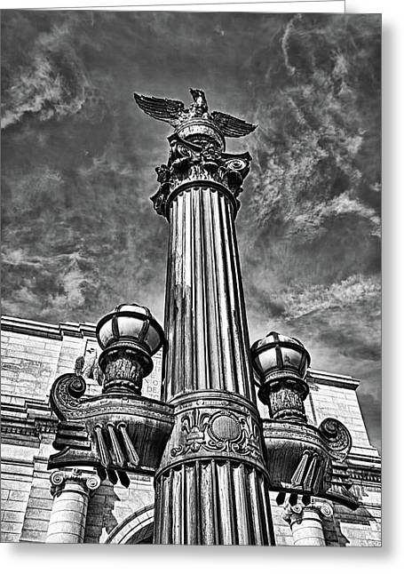 Blackrussianstudio Greeting Cards - Lamp Post at Railroad Station in Washington DC. Greeting Card by Val Black Russian Tourchin