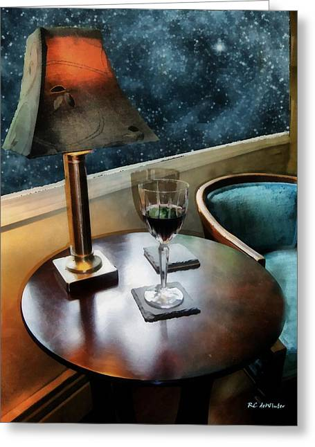 Night Lamp Greeting Cards - Lamplight and Stars Greeting Card by RC deWinter