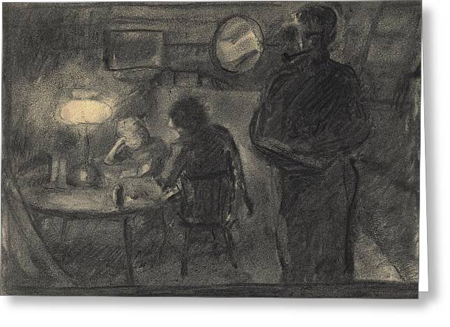 Lamplight In The Cabin Greeting Card by Willoughby  Senior