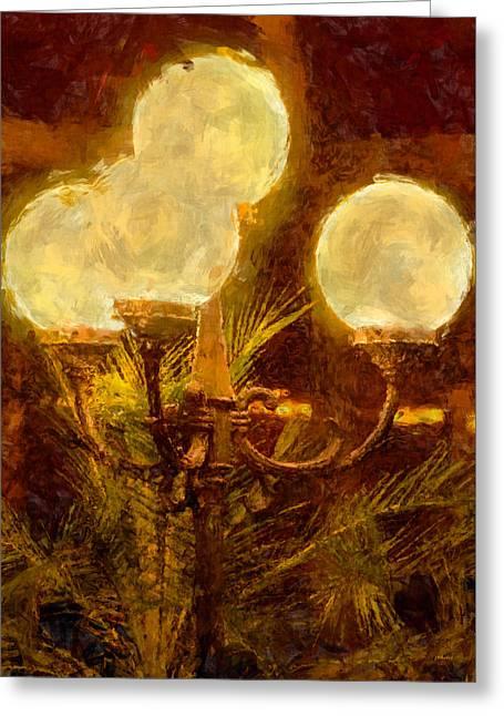 Night Lamp Greeting Cards - Lamplight Greeting Card by John Bailey