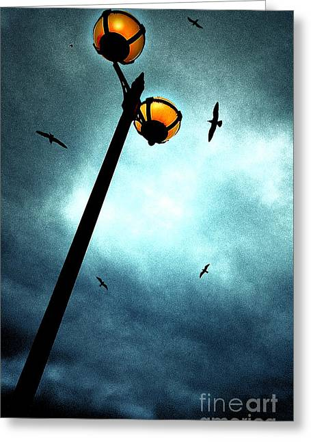 Lamps With Birds Greeting Card by Meirion Matthias