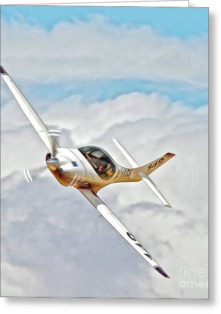 Reno Air Races Greeting Cards - Lancair Race 142 Bob Jeffry and I Dream Of Jeannie Reno Air Races 2010 Greeting Card by Gus McCrea