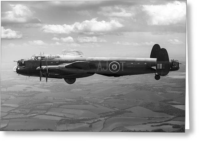 617 Squadron Greeting Cards - Lancaster AJ-T carrying Upkeep BW version Greeting Card by Gary Eason