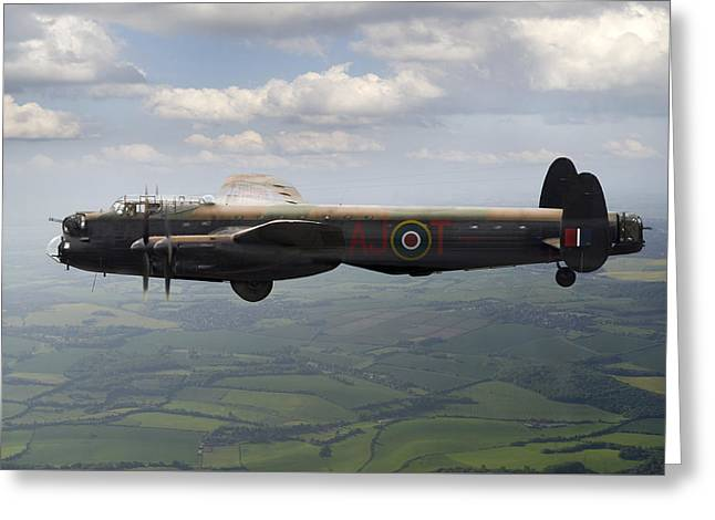617 Squadron Greeting Cards - Lancaster AJ-T carrying Upkeep Greeting Card by Gary Eason
