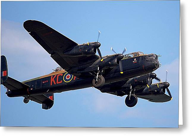 Global Hawk Greeting Cards - Lancaster Bomber Greeting Card by Mark Hinds