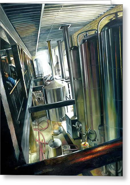 Chrome Paintings Greeting Cards - Lancaster Brewery Greeting Card by Gregg Hinlicky