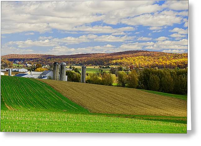 Lancaster County Amish Farm  Greeting Card by William Jobes