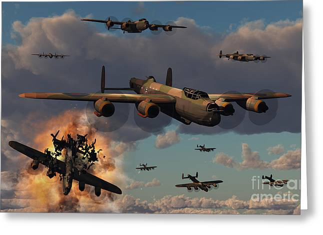 Propeller Greeting Cards - Lancaster Heavy Bombers Of The Royal Greeting Card by Mark Stevenson