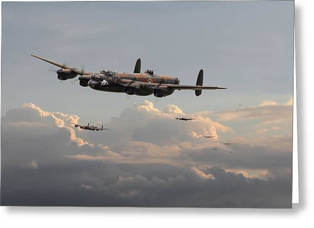 Lancaster Bomber Greeting Cards - Lancasters - Maximum Effort Greeting Card by Pat Speirs