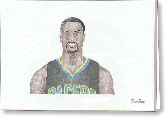 Slam Drawings Greeting Cards - Lance Stephenson Greeting Card by Toni Jaso