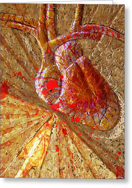 Christ Reliefs Greeting Cards - Lanced Sacred Heart Greeting Card by Richard Glen Smith
