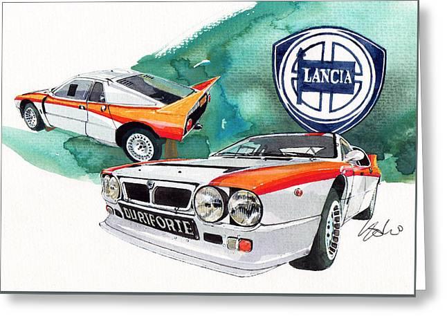 Lancia 037 Greeting Card by Yoshiharu Miyakawa