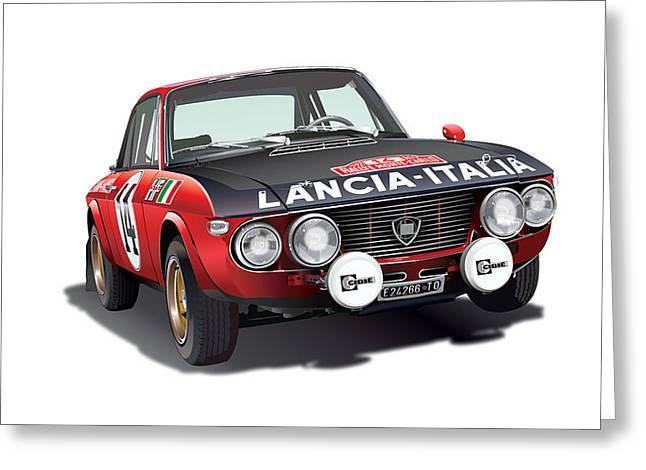 Monte Greeting Cards - Lancia Fulvia HF Greeting Card by Alain Jamar