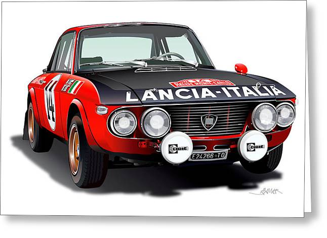 Lancia Fulvia Hf Illustration Greeting Card by Alain Jamar