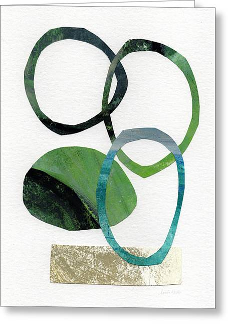 Geometric Art Greeting Cards - Land and Sea- Abstract Art Greeting Card by Linda Woods