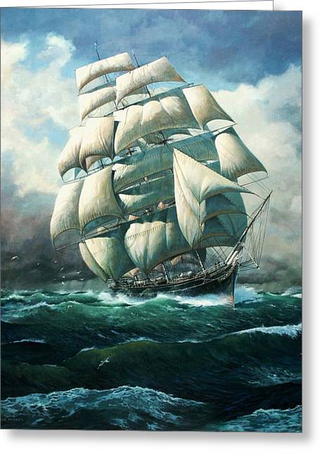 'land Ho' Cutty Sark Greeting Card by Colin Parker