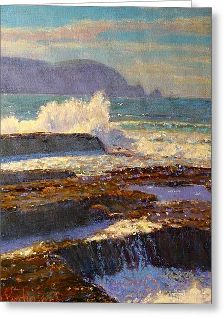Terry Perham Greeting Cards - Land meets sea Greeting Card by Terry Perham