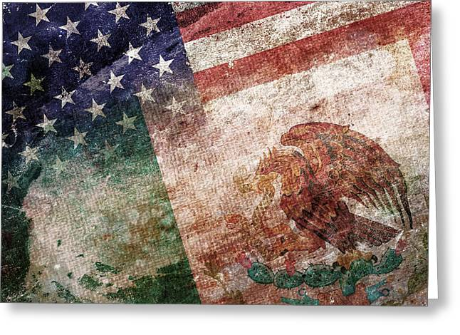 Red White And Blue Digital Greeting Cards - Land Of Opportunity Greeting Card by Az Jackson