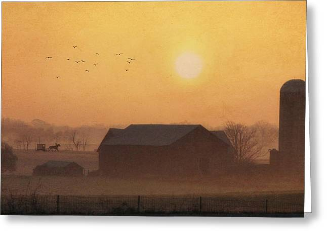 Land Of The Amish Greeting Card by Lori Deiter