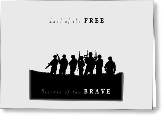 Bedroom Art Greeting Cards - Land of the FREE Graphic Greeting Card by Corey Haynes