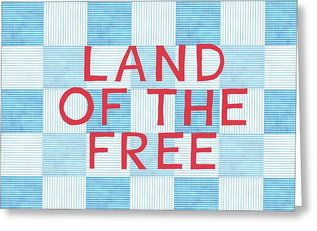 4th July Greeting Cards - Land Of The Free Greeting Card by Linda Woods