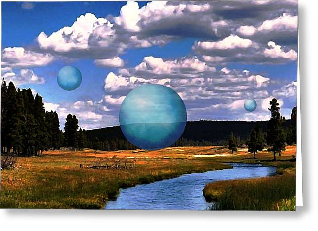 Surreal Landscape Greeting Cards - Land Orbs Greeting Card by Darryl Weatherly