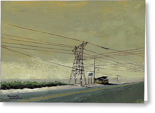 Road Trip Paintings Greeting Cards - Land Greeting Card by Steve Beaumont