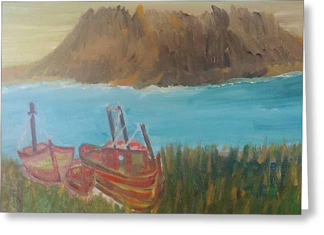 Fishing Boats Greeting Cards - Landed Greeting Card by Cindy  Riley