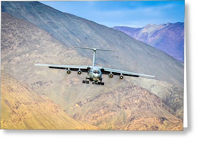 Landing Airplane Greeting Cards - Landing At Leh Greeting Card by Krishnaraj Palaniswamy
