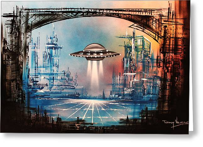 Outer Space Paintings Greeting Cards - Landing Home Greeting Card by Tony Vegas
