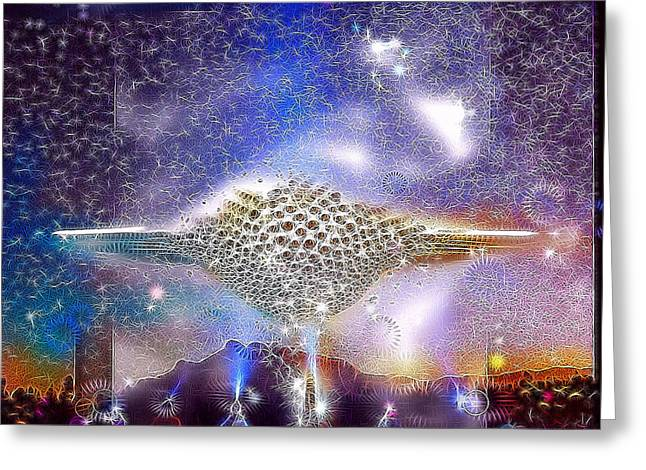 Outer Space Mixed Media Greeting Cards - Landing Party Greeting Card by Russell Pierce