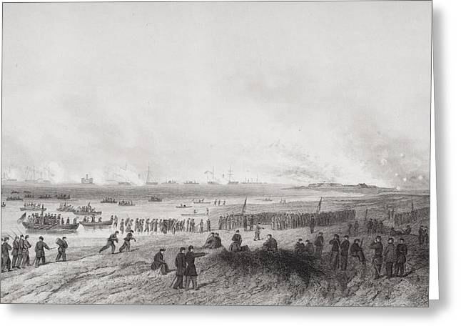 Engagement Picture Greeting Cards - Landing The Troops During Bombardment Greeting Card by Ken Welsh