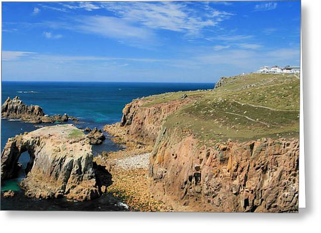 Kernow Greeting Cards - Lands End - Panoramic Greeting Card by Carl Whitfield