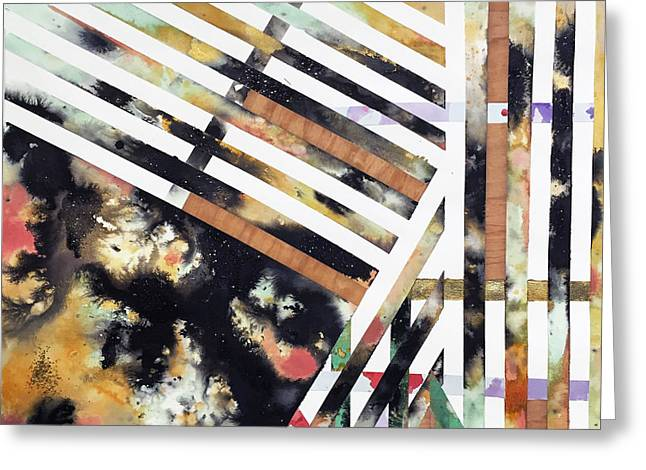 Abstract Map Tapestries - Textiles Greeting Cards - Landscape #1  Greeting Card by Holly Coley