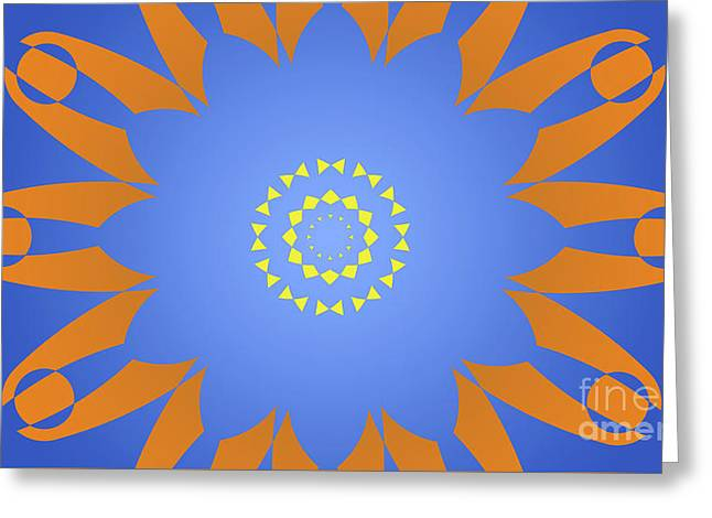 Landscape Abstract Blue, Orange And Yellow Star Greeting Card by Pablo Franchi