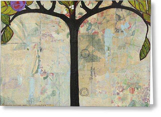 Landscape Art Tree Painting Past Visions Greeting Card by Blenda Studio