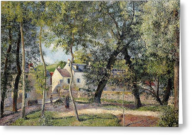 Pissarro; Camille Greeting Cards - Landscape at Osny near the Drinking Trough Greeting Card by Camille Pissarro