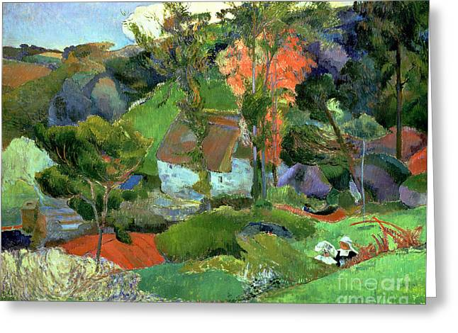 Paysages Greeting Cards - Landscape at Pont Aven Greeting Card by Paul Gauguin