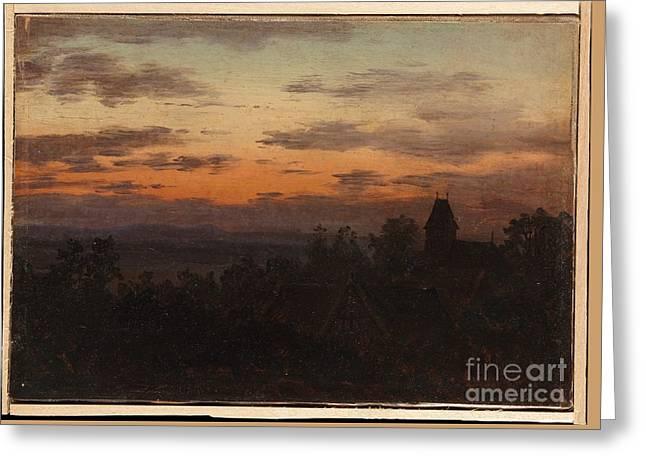 Landscape At Sunset Greeting Cards - Landscape at Sunset Greeting Card by Celestial Images
