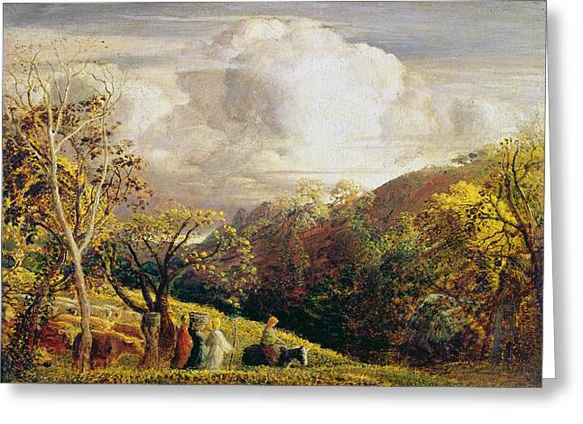 Samuel (1805-81) Greeting Cards - Landscape figures and cattle Greeting Card by Samuel Palmer